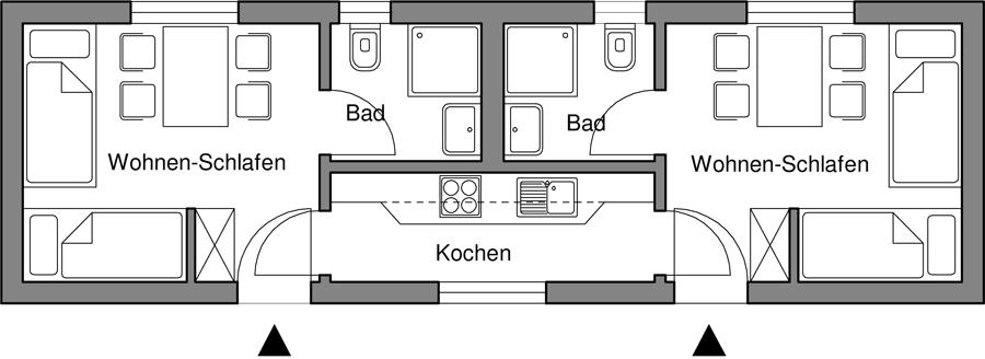 2 Wohnungen für je 2 Personen