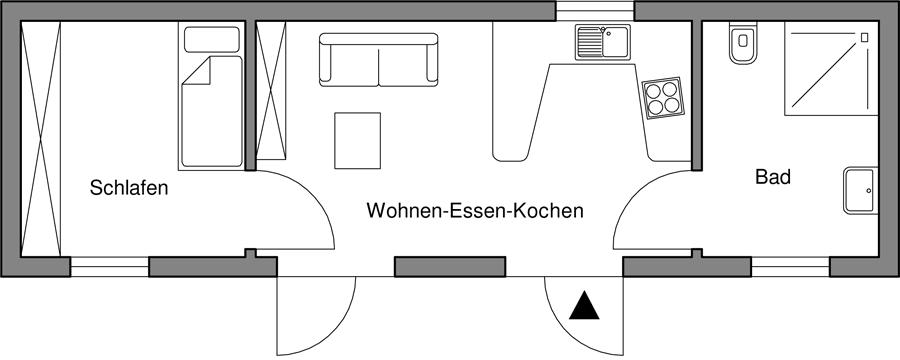 1 Personenappartement für Rollstuhlbenutzer nach DIN 18025-1