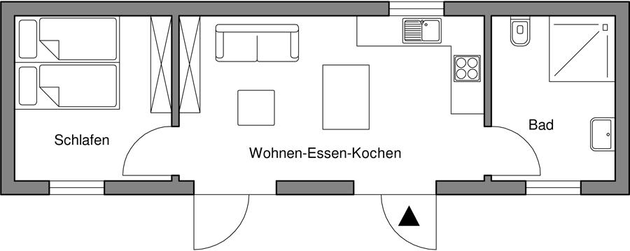 1 Personenappartement barrierefrei nach DIN 18025 - 2