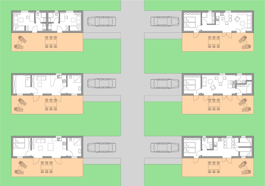 Wohnprojekt altersgerechtes Wohnen mit 5 Wohnhäusern und einem Gemeinschaftshaus