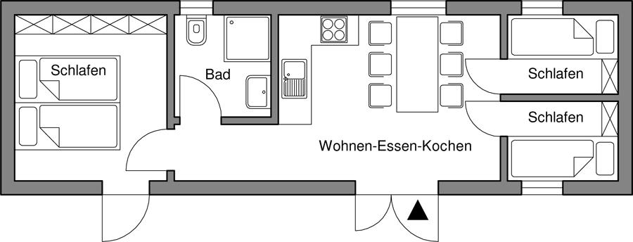 Wohnung für bis zu 6 Personen