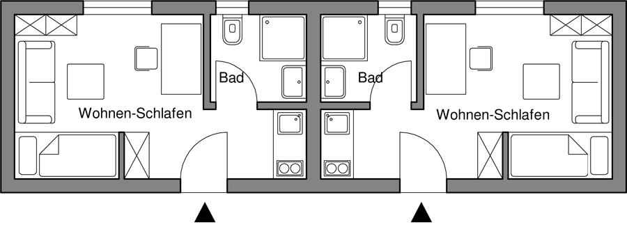 2 Wohnungen für je 1 Person